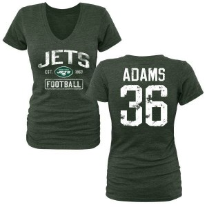 Josh Adams New York Jets Women's Green Distressed Name & Number Tri-Blend V-Neck T-Shirt