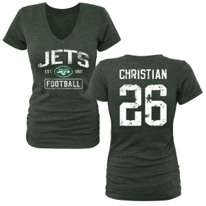 Marqui Christian New York Jets Women's Green Distressed Name & Number Tri-Blend V-Neck T-Shirt