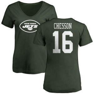 Jehu Chesson New York Jets Women's Green Name & Number Logo Slim Fit T-Shirt -
