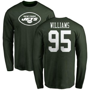Quinnen Williams New York Jets Youth Green Any Name & Number Logo Long Sleeve T-Shirt -