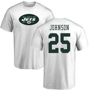 Ty Johnson New York Jets Youth White Name & Number Logo T-Shirt -
