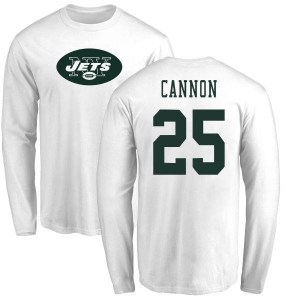 Trenton Cannon New York Jets Youth White Name & Number Logo Long Sleeve T-Shirt -