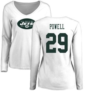 Bilal Powell New York Jets Women's White Pro Line Name & Number Logo Slim Fit Long Sleeve T-Shirt -