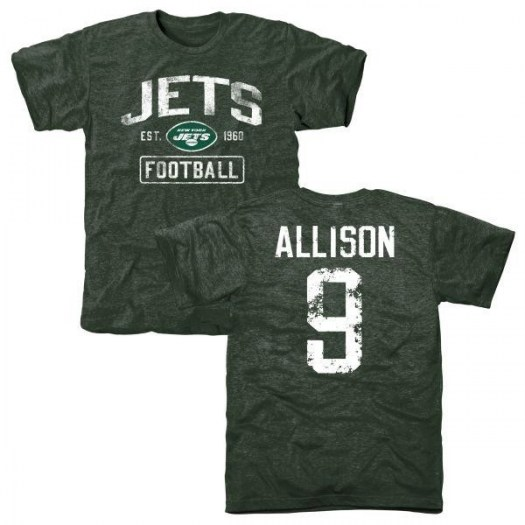 Jeff Allison New York Jets Youth Green Distressed Name & Number Tri-Blend T-Shirt