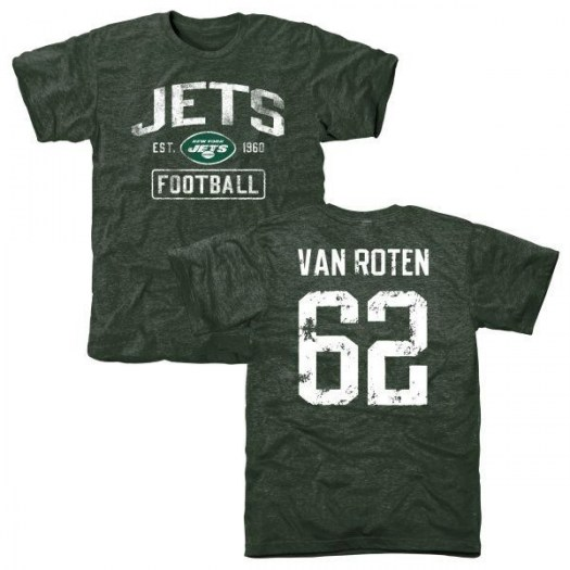 Greg Van Roten New York Jets Youth Green Distressed Name & Number Tri-Blend T-Shirt