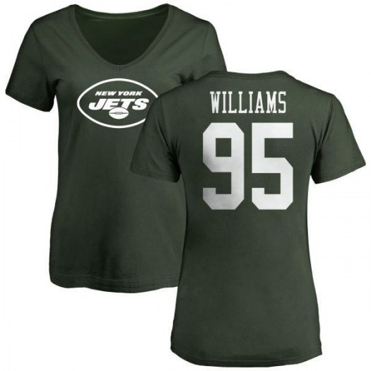 Quinnen Williams New York Jets Women's Green Any Name & Number Logo Slim Fit T-Shirt -