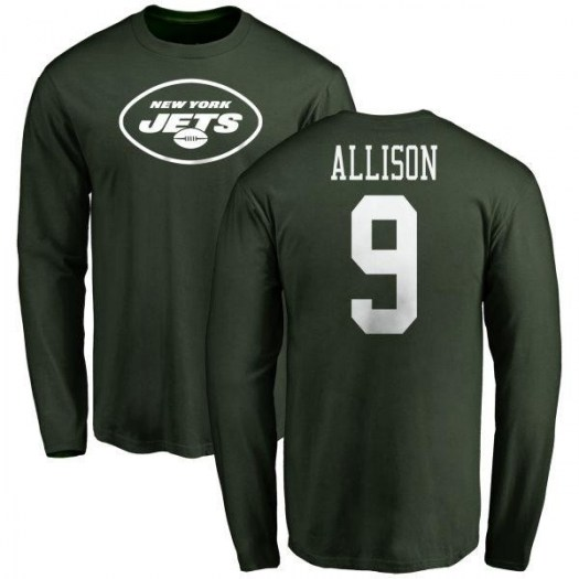 Jeff Allison New York Jets Youth Green Any Name & Number Logo Long Sleeve T-Shirt -