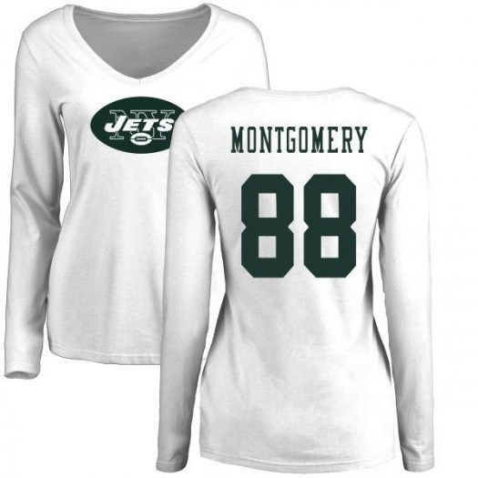 Ty Montgomery New York Jets Women's White Name & Number Logo Slim Fit Long Sleeve T-Shirt -