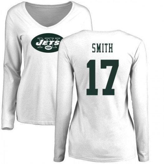 Vyncint Smith New York Jets Women's White Name & Number Logo Slim Fit Long Sleeve T-Shirt -