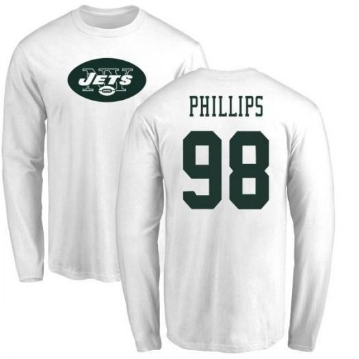 Kyle Phillips New York Jets Men's White Name & Number Logo Long Sleeve T-Shirt -