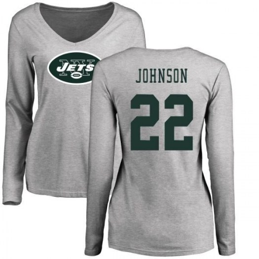 Trumaine Johnson New York Jets Women's Pro Line Name & Number Logo Slim Fit Long Sleeve T-Shirt - Ash