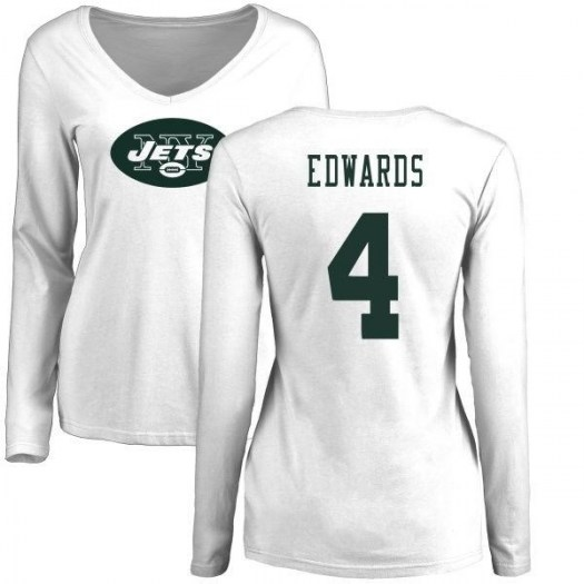 Lac Edwards New York Jets Women's White Pro Line Name & Number Logo Slim Fit Long Sleeve T-Shirt -